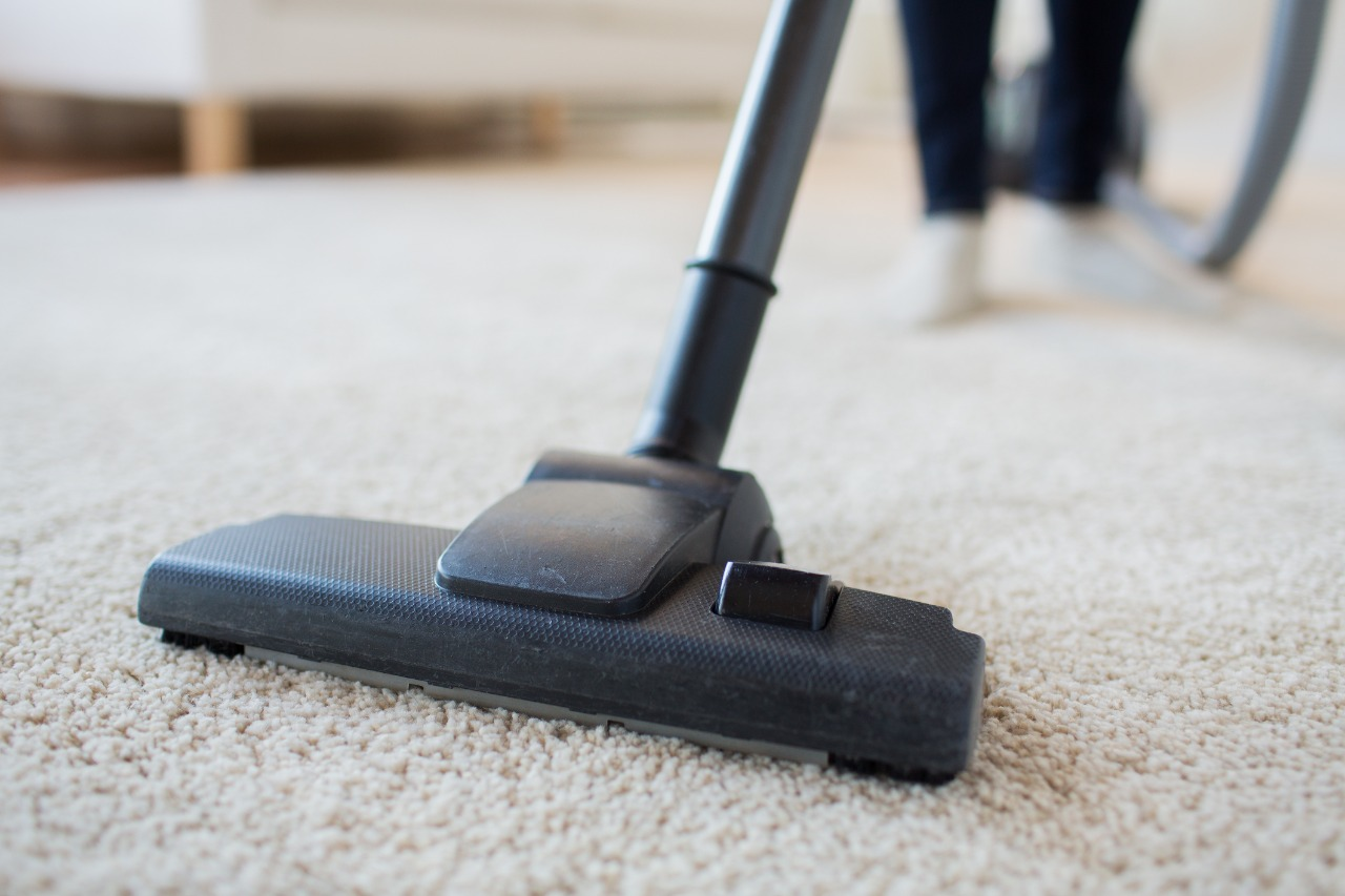 Close-up vacuuming of carpet to remove pet hair and dander