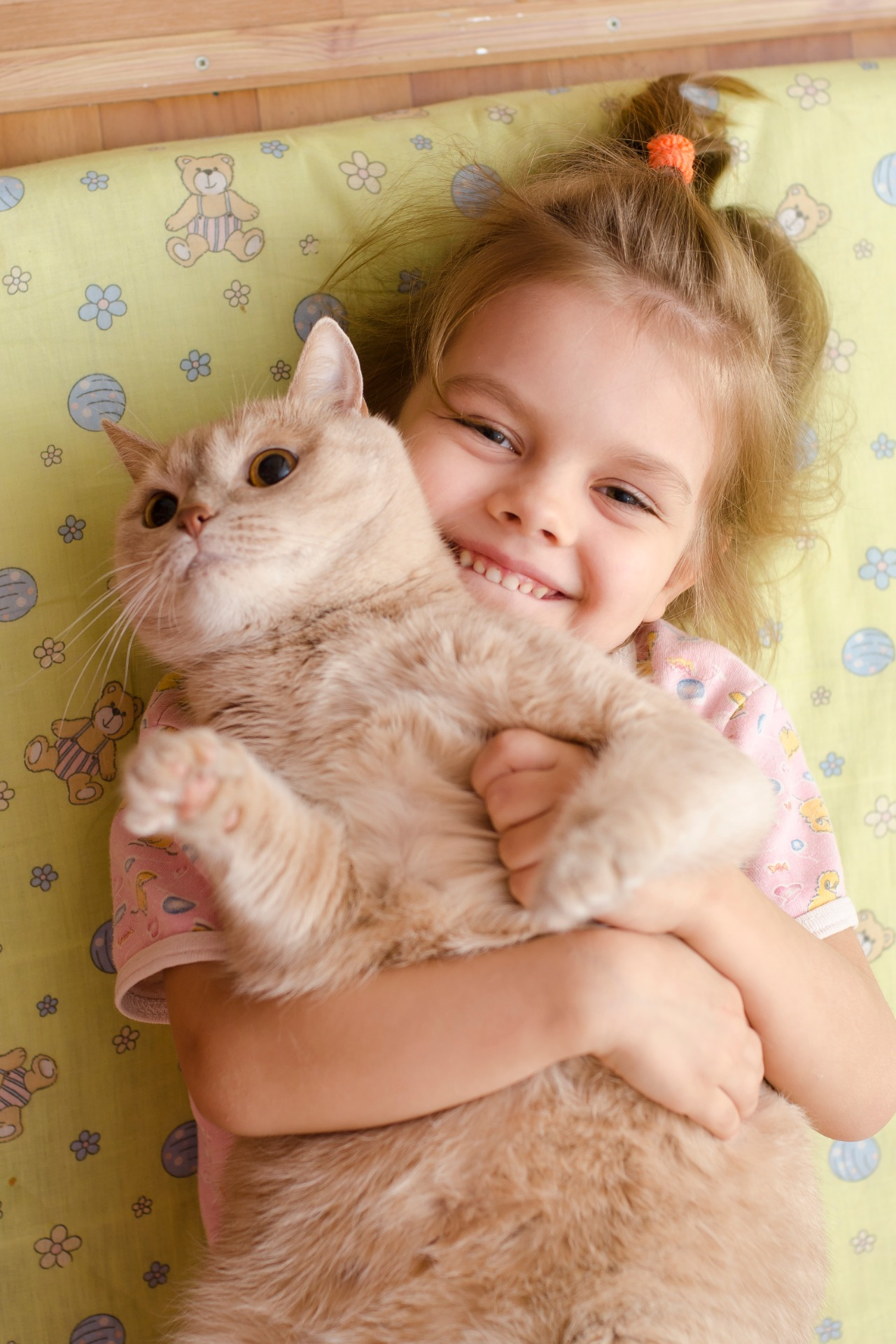 little girl hugging the cat lying on a bed
